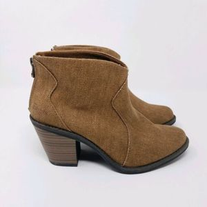 Blowfish Ankle Boots 6 Canvas Western Brown Heeled